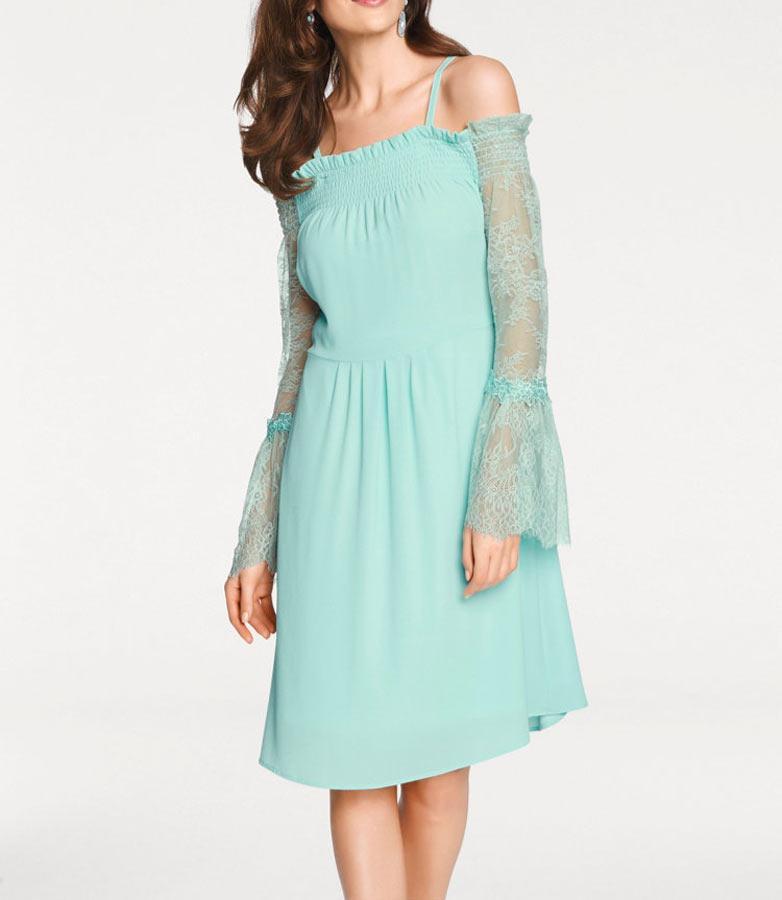 Designercarmenkleid Mint  Kleider  Outlet Modeshop