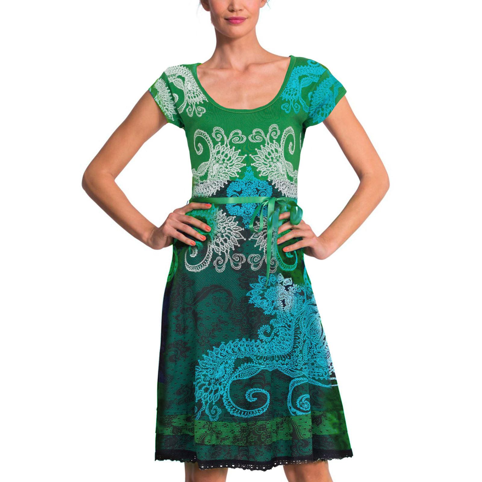 Desigual Liz Rep Dress Green Mckennan Sxxl New Summer