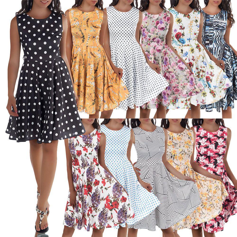 Details Zu Damen Kleid Rockabilly Petticoat Sommerkleid