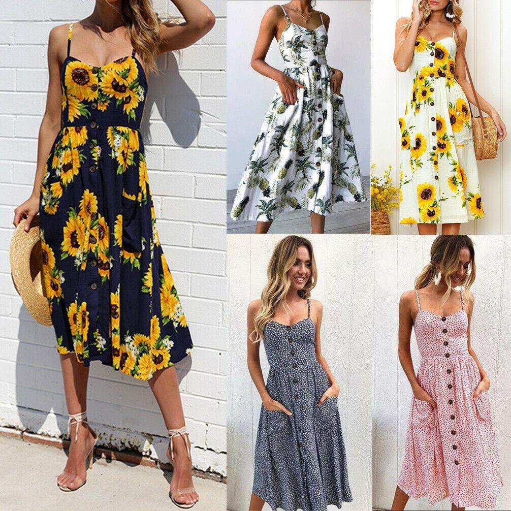 Details Zu Damen Kleid Vintage Boho Blumen Lang