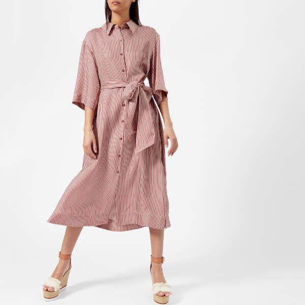 Diane Von Furstenberg Women'S 3/4 Sleeve Belted Shirt