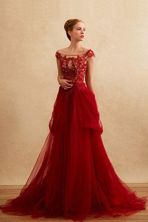 Die 12 Besten Bilder Von Hochzeitskleid Rot  Ballkleid