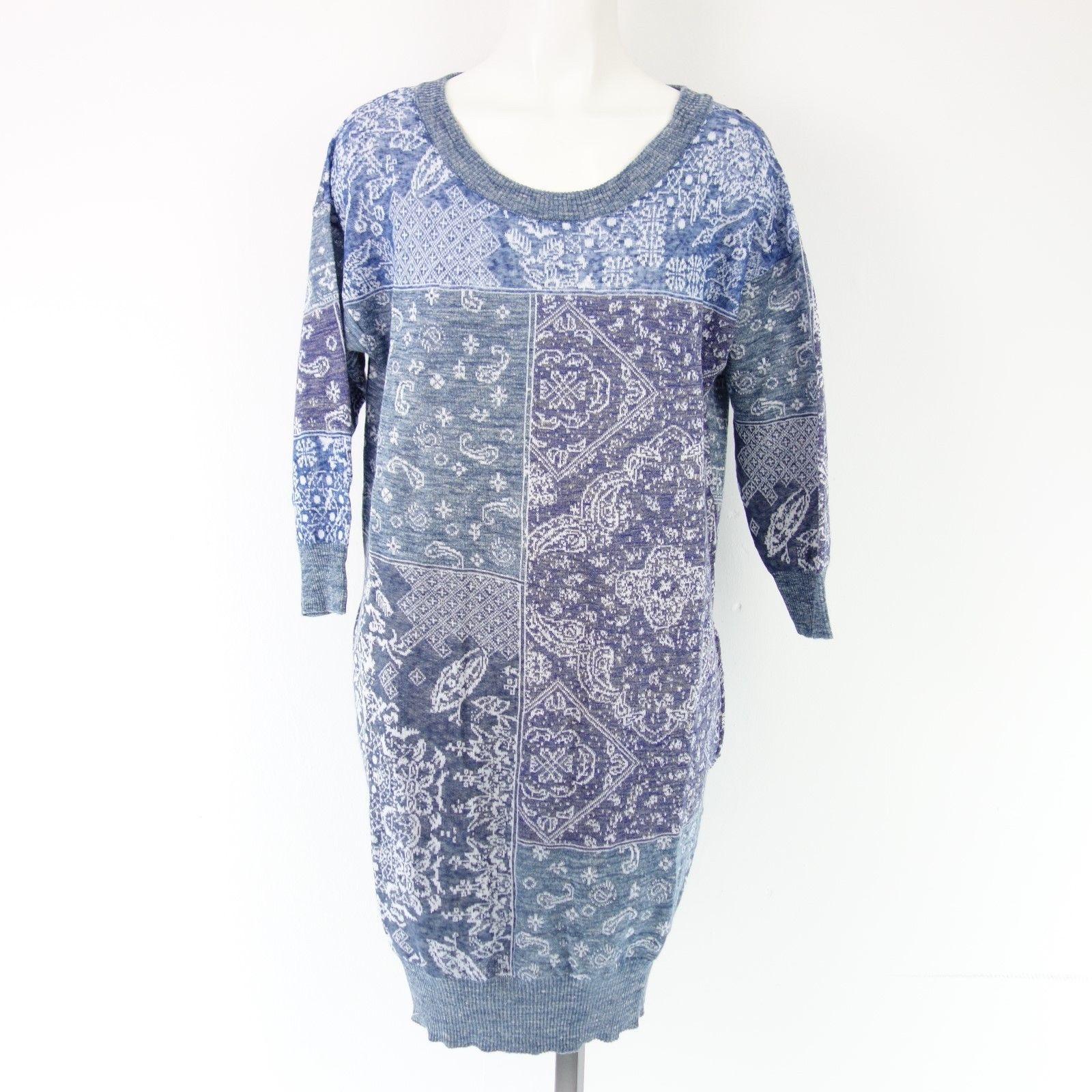 Diesel Damen Kleid M Kerchief Abito Gr 40 L Blau Leinen