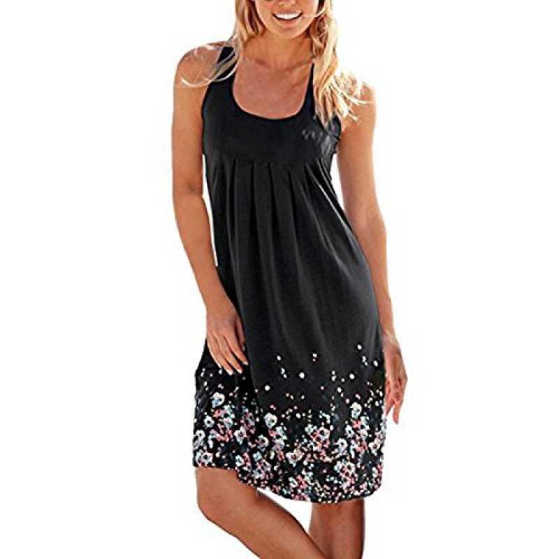 Diosa Damen Sleeveless Sommerblumenkleid Gedruckte Kleid