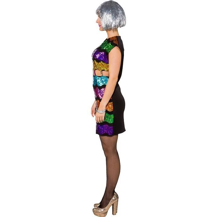 Disco Regenbogen Pailetten Kleid