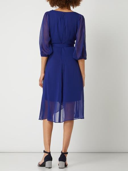 Dkny Kleid Aus Krepp Mit Dreiviertelärmeln In Blau