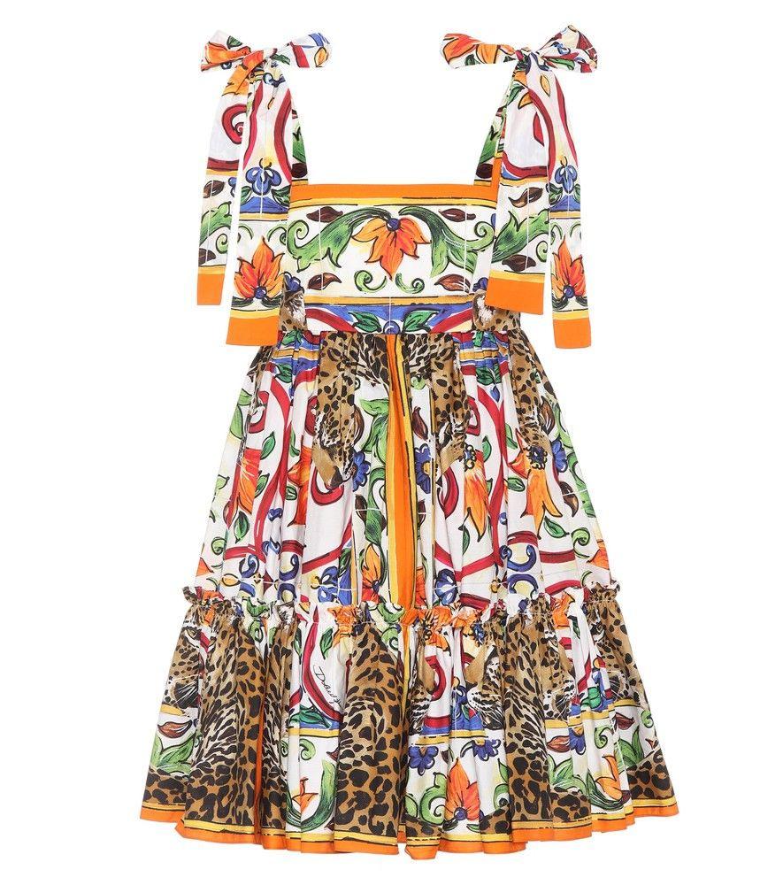 Dolce  Gabbana  Bedrucktes Kleid Aus Baumwolle  Für