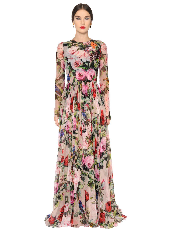 Dolce  Gabbana Embellished Roses Print Silk Voile Dress