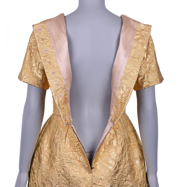 Dolce  Gabbana Glänzendes Jacquard Kleid Gold 40 S 07126