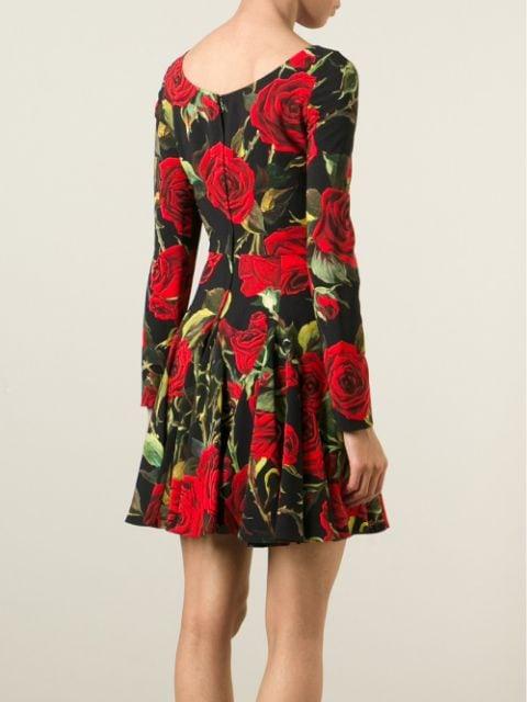 Dolce  Gabbana Kleid Mit Rosenprint  Farfetch