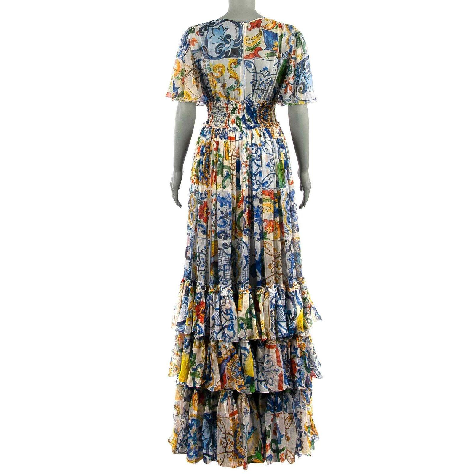 Dolce  Gabbana Majolika Chiffon Seide Maxi Lang Kleid