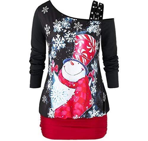 Dorical Damen Weihnachten Outfit Schwarz Minikleid