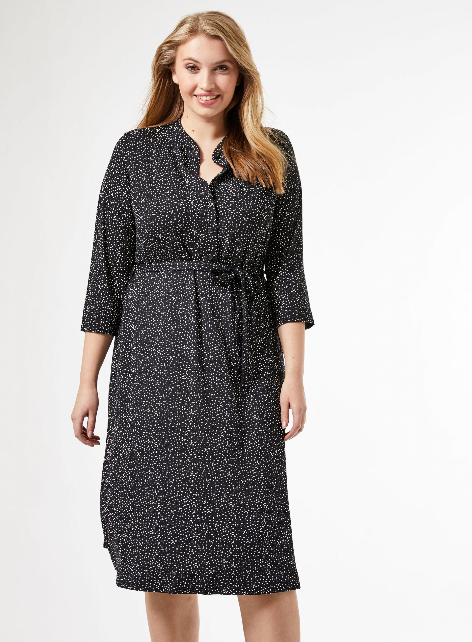 Dorothy Perkins Damen Curve Schwarz Grandad Midi Kleid