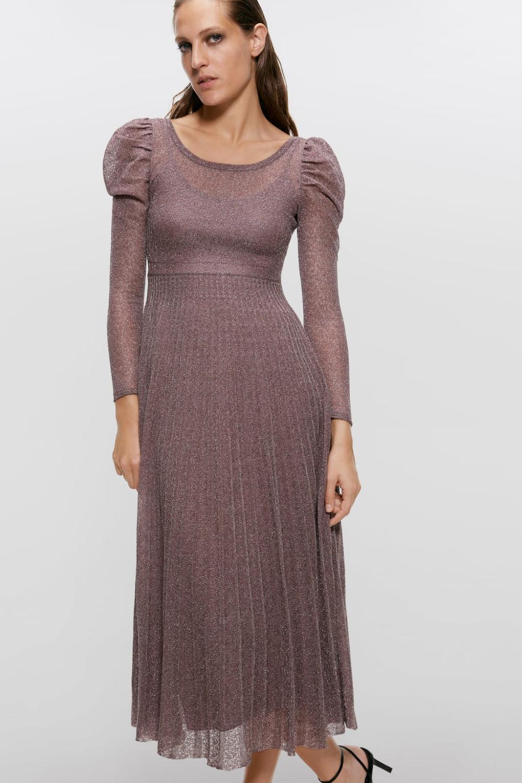 Dress With Metallic Thread  View Alldresseswoman  Zara
