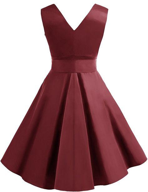 Dresstells 1950Er Vintage Retro Rockabilly Kleid Ärmellos