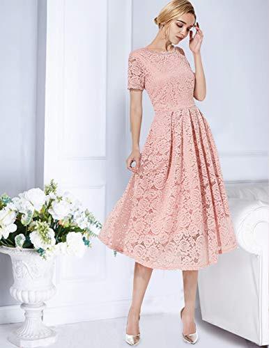 Dresstells Damen Midi Elegant Hochzeit Spitzenkleid