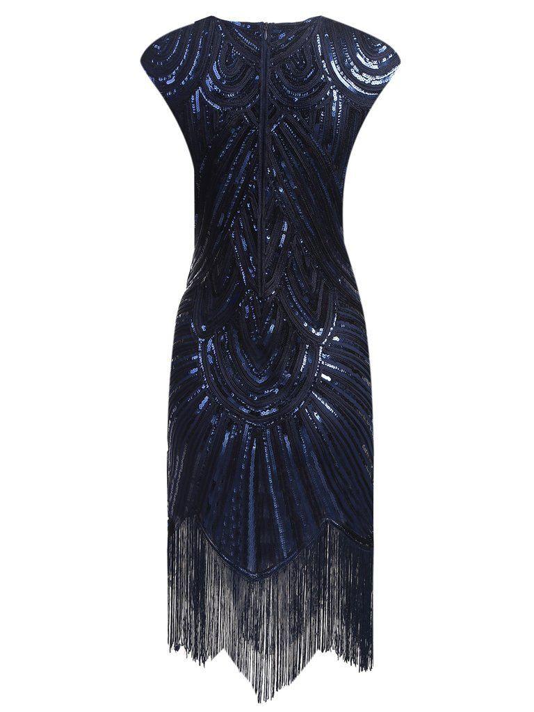 Dunkel Blau 1920Er Fransen Gatsby Flapper Kleid  Flapper