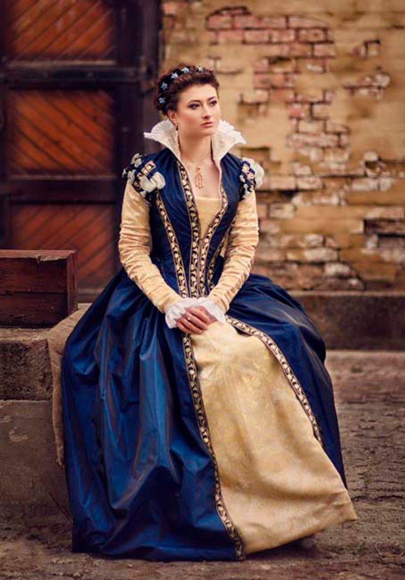 Dunkel Blau Taft Renaissance Kleid 16 Jahrhundert