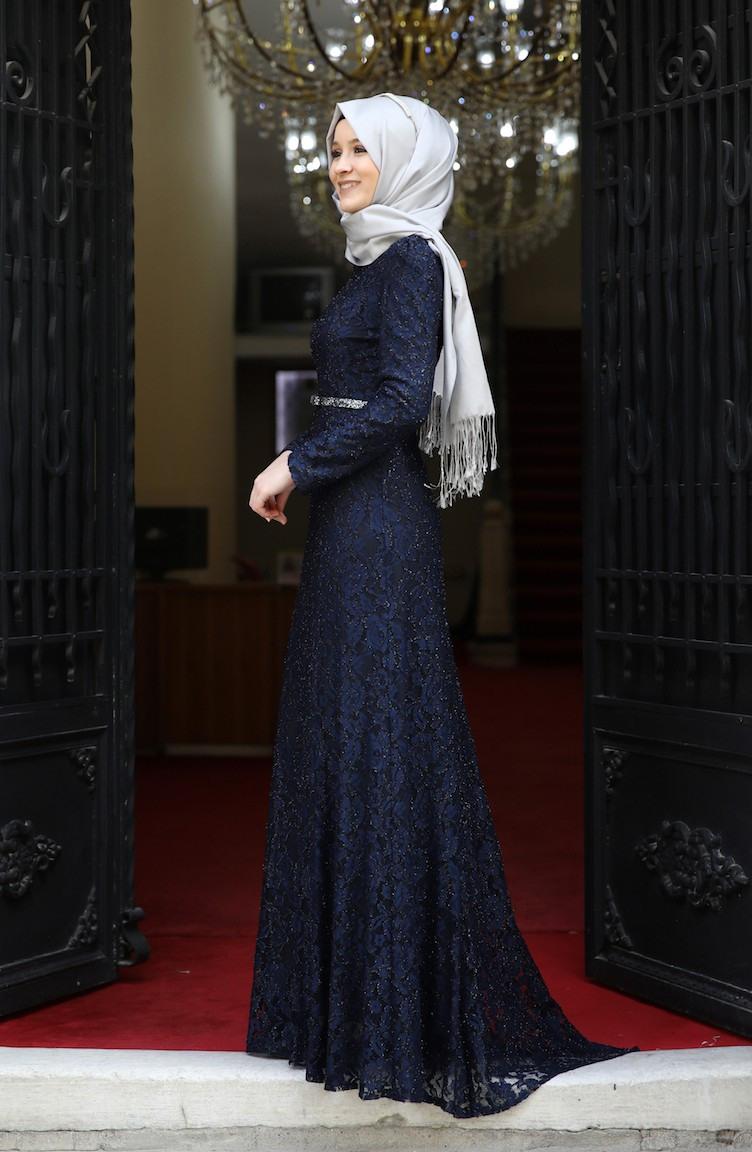 Dunkelblau Hijababendkleider 320603  Sefamerve
