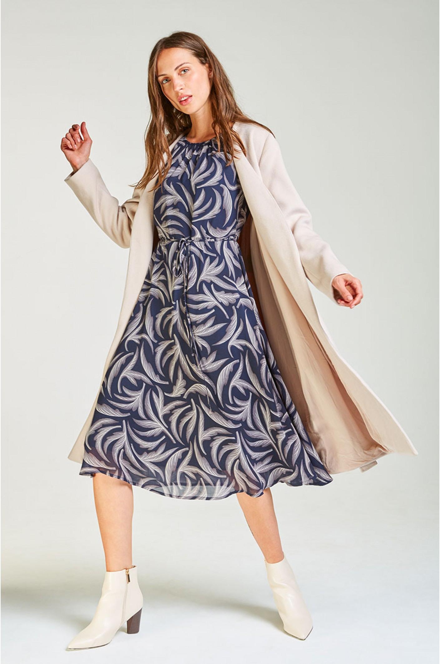 Dunkelblaues Midikleid Mit Muster  Kala Fashion