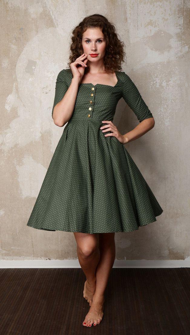 Dunkelgrünes Klassisches Petticoatkleid Mit Weißen