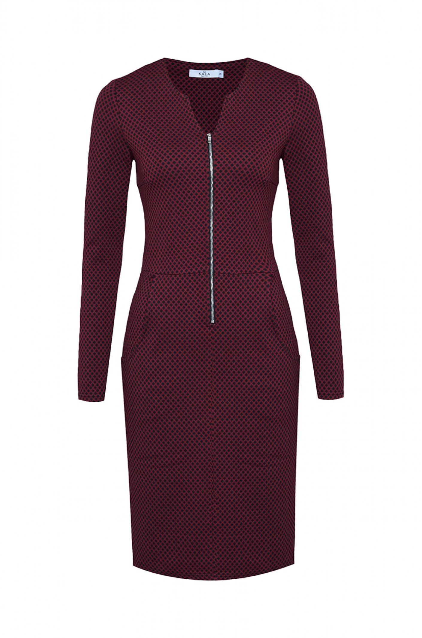 Dunkelrotes Jerseykleid Mit Langem Arm Von Kala Fashion