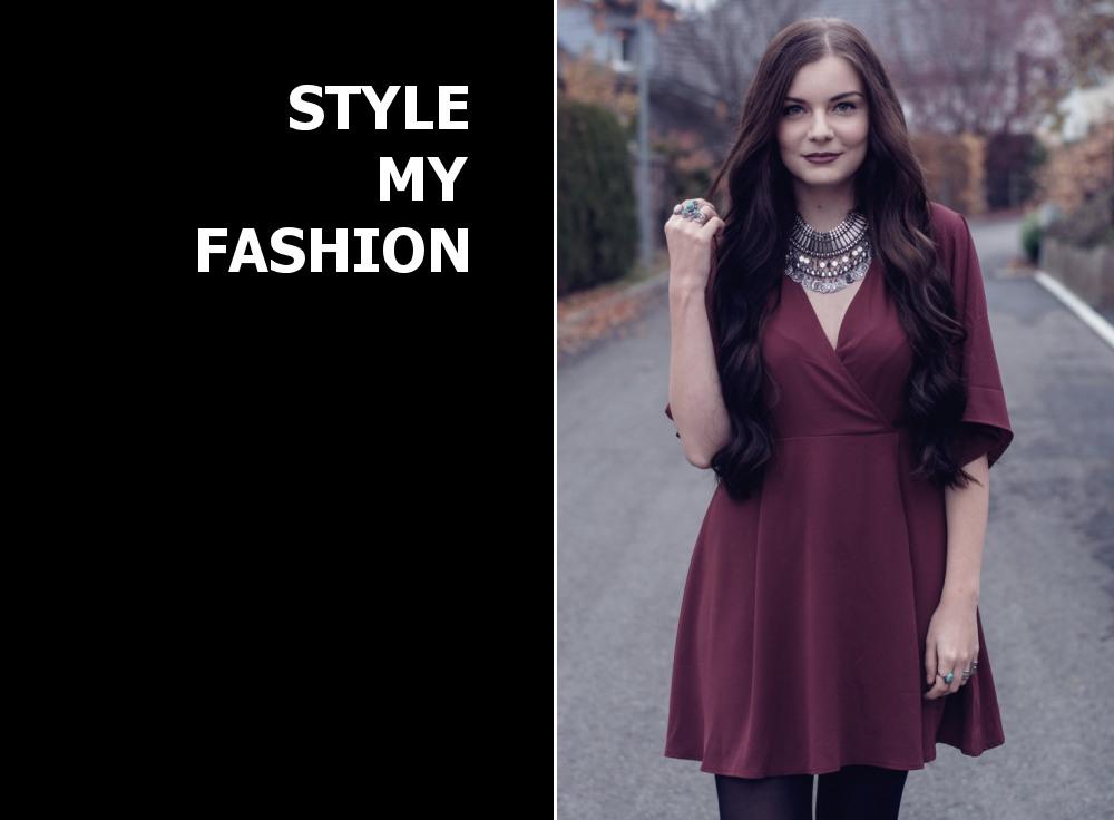 Dunkelrotes Klassisches Kleid Kombinieren