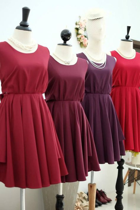 Dunkelrotes Kleid Burgundy Kleid Red Burgundy Bridesmaid
