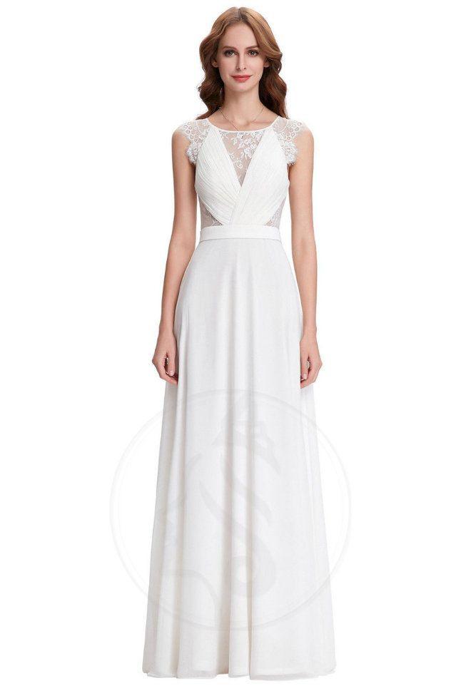 Durchsichtige Rücken Aline Zurück Bodenlanges Brautkleid Mit Rüschen Aus Spitze  Bild 1