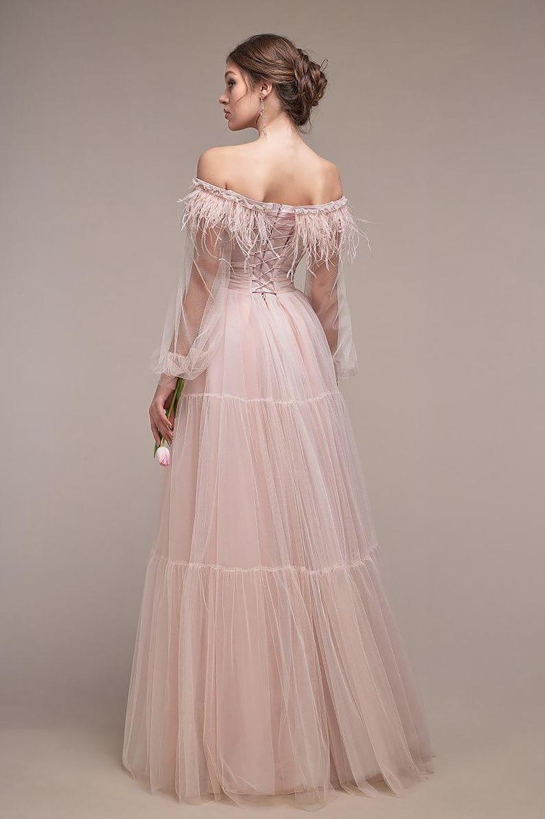 Dusty Rose Tüll Alinie Kleid Hochzeit Gast Kleid Ballon