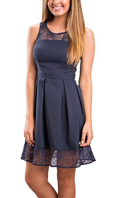 Ecowish Damen Kleid Sommerkleid Freizeitkleid