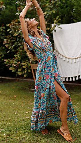 Ecowish Damen Kleider Boho Sommerkleid Vausschnitt