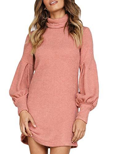 Ecowish Damen Rollkragen Strickkleid Einfarbig Pullover
