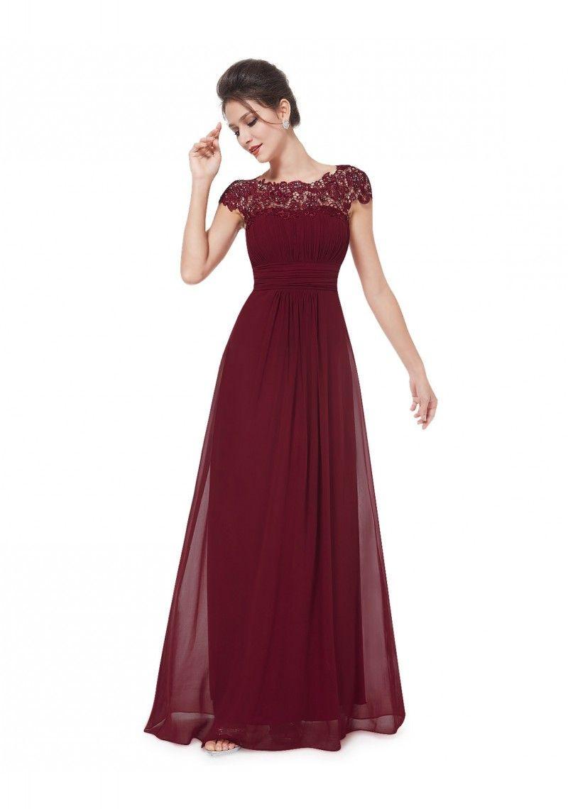 Edles Langes Spitze Abendkleid In Bordeaux Rot  Online