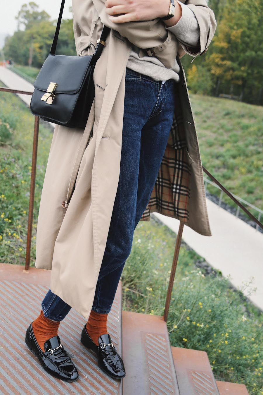 Ein Herbstliches Outfit Mit Trenchcoat Loafern