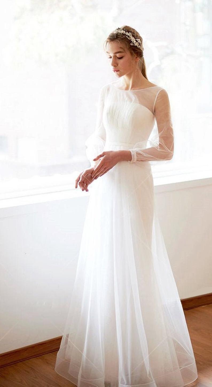 Einfache Alinie Lange Ärmel Hochzeit Kleid