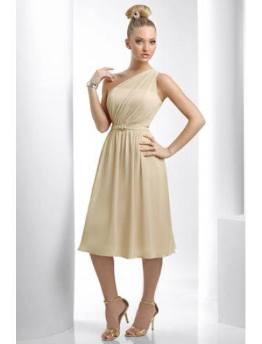 Einfache Chiffon Wadenlang Ein Schulter Kleid Standesamt