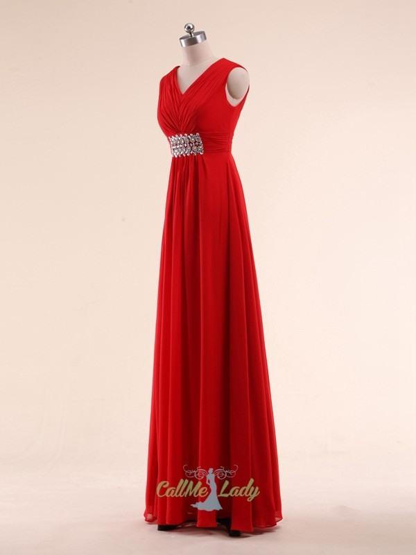Einfache Gurte Rot Maxi Kleider Brautjungfernkleider