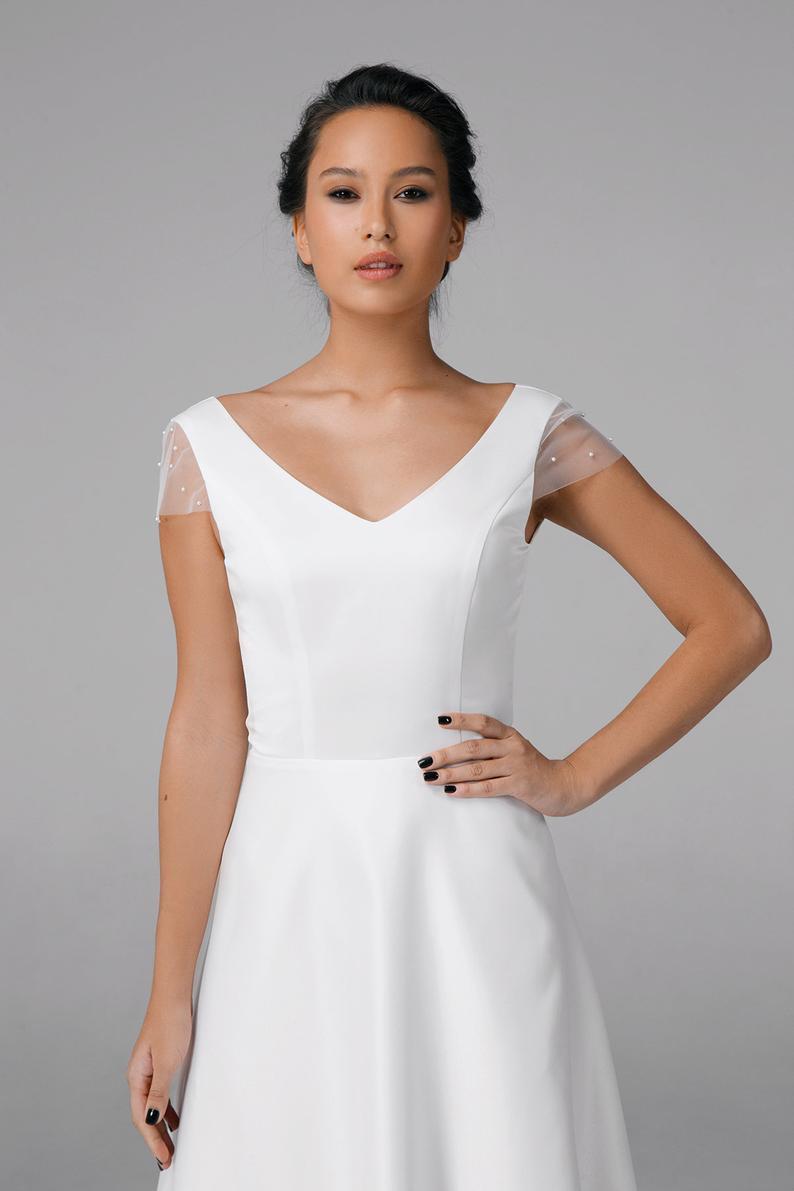 Einfache Kurze Hochzeitskleid Satin Brautkleid  Etsy