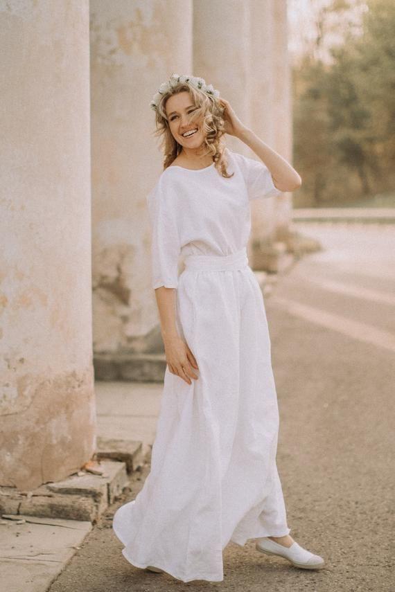 Einfaches Hochzeitskleid Boho Hochzeitskleid Leinen