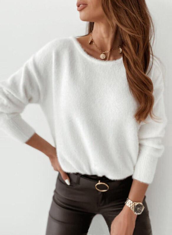 Einfarbig Rundhalsausschnitt Sexy Pullover 1002343715