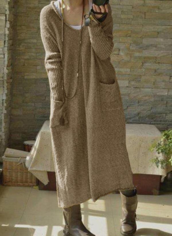 Einfarbig Taschen Vausschnitt Freizeit Lang Pulloverkleid