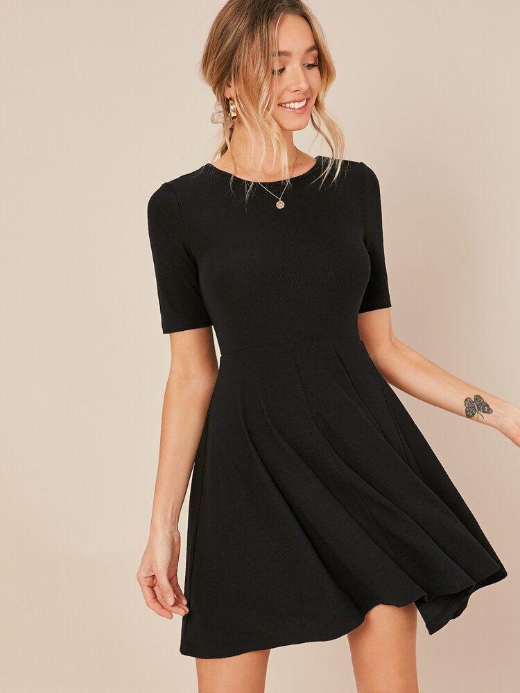 Einfarbiges Kleid  Shein  Kleider Fit And Flare Unique