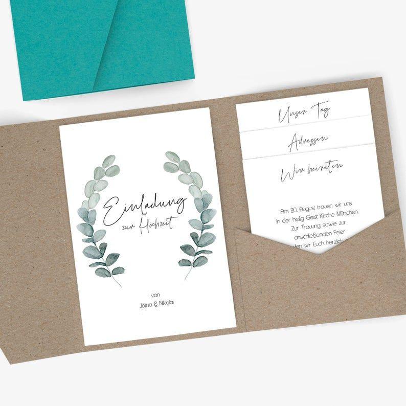Einladung Hochzeit Eukalyptus Pocketfold