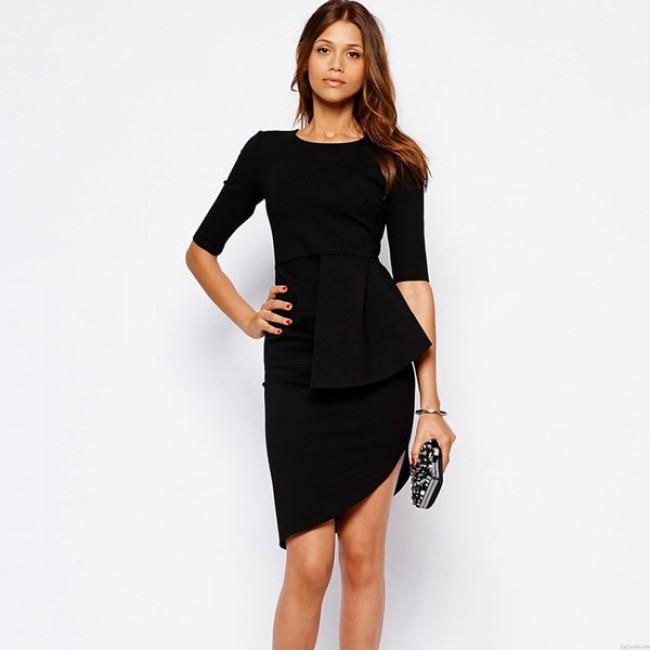 Einzigartige Unregelmäßige Schichten Schwarze Kleider
