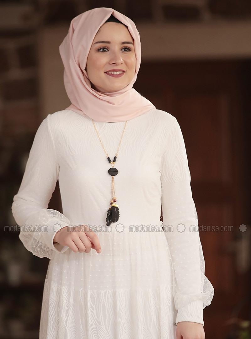 Ekru  Rundhalsausschnitt  Mit Innenfutter  Hijab Kleid