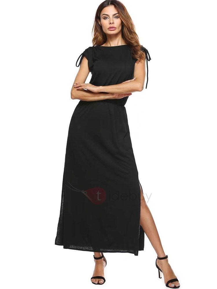 Elatische Taille Kleid Mit Schlitz  Tidebuy De