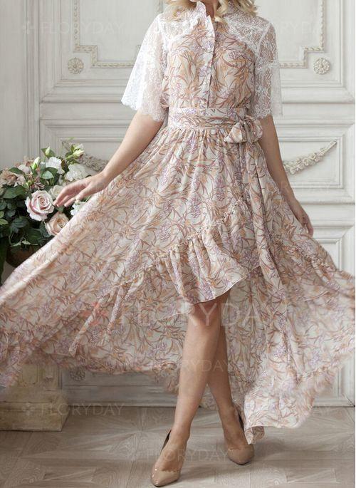 Elegant Halbarm Blumen Maxi Kleider  Floryday