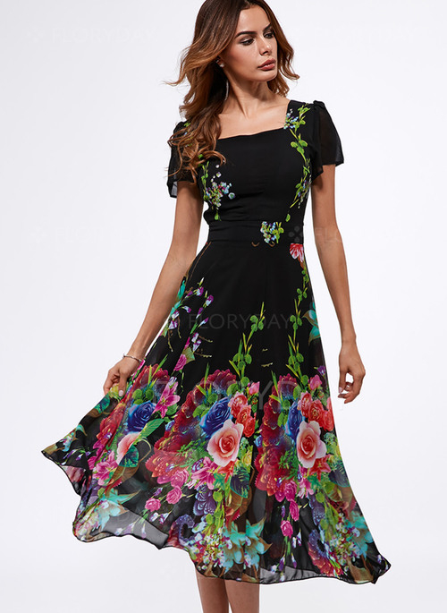 Elegant Kurze Ärmel Blumen Midi Kleider  Floryday
