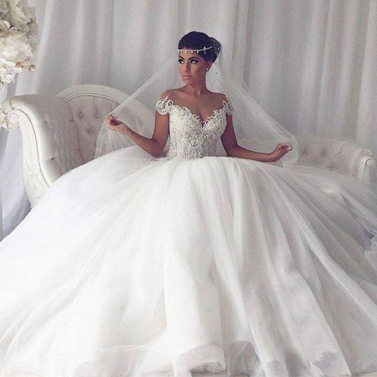 Elegant Weiße Hochzeitskleider Mit Spitze Prinzessin Tüll